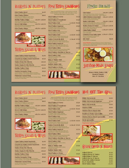 Trifold Turkey Sandwich Menu Layout