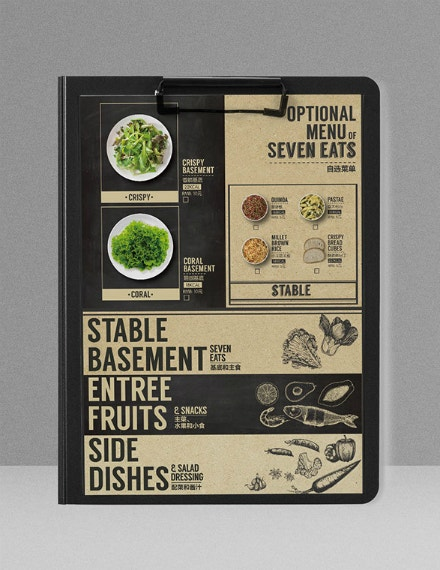 Typographic Salad Menu Card Layout