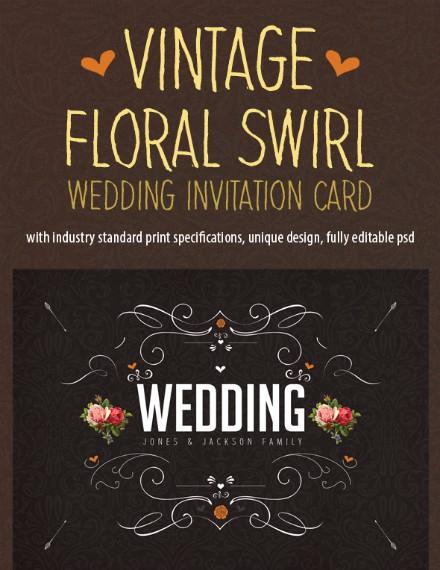vintage floral chalkboard invitation design