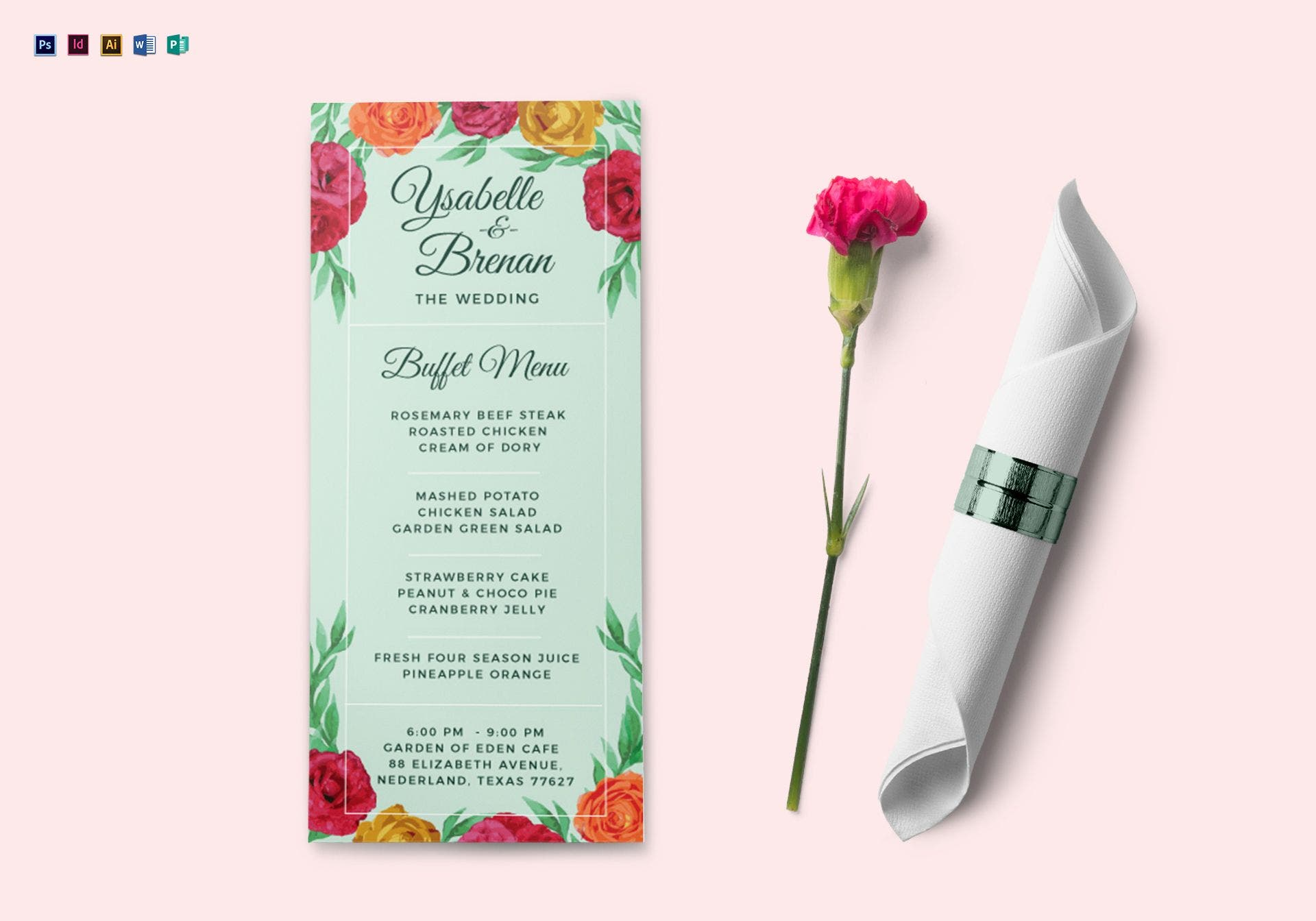 wedding buffet menu card template