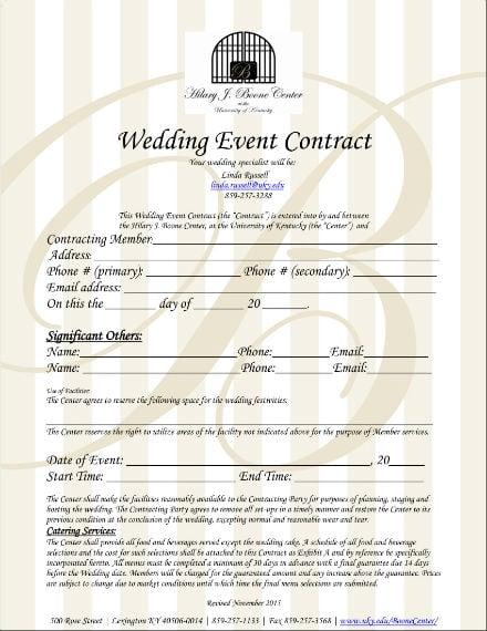 wedding planner contract sample 1