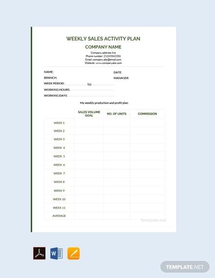 weekly sales activity plan