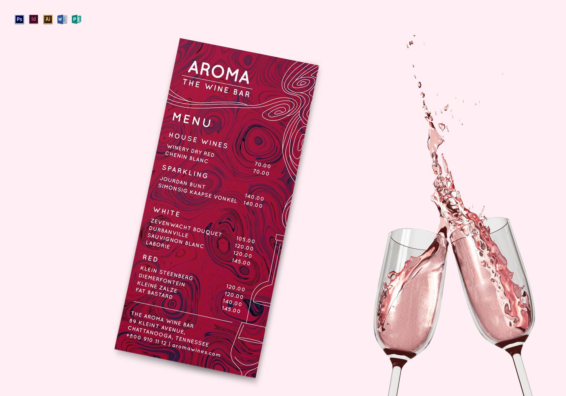 wine menu mockup