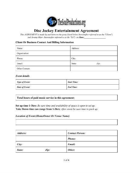 6 dj booking contract templates word apple pages. Black Bedroom Furniture Sets. Home Design Ideas