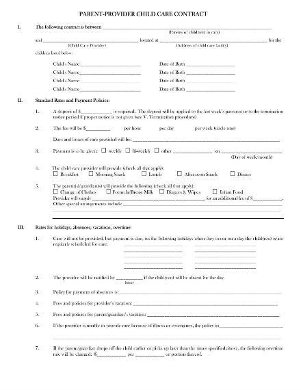parent provider child care contract 1