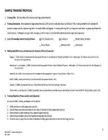 sample training proposal 1