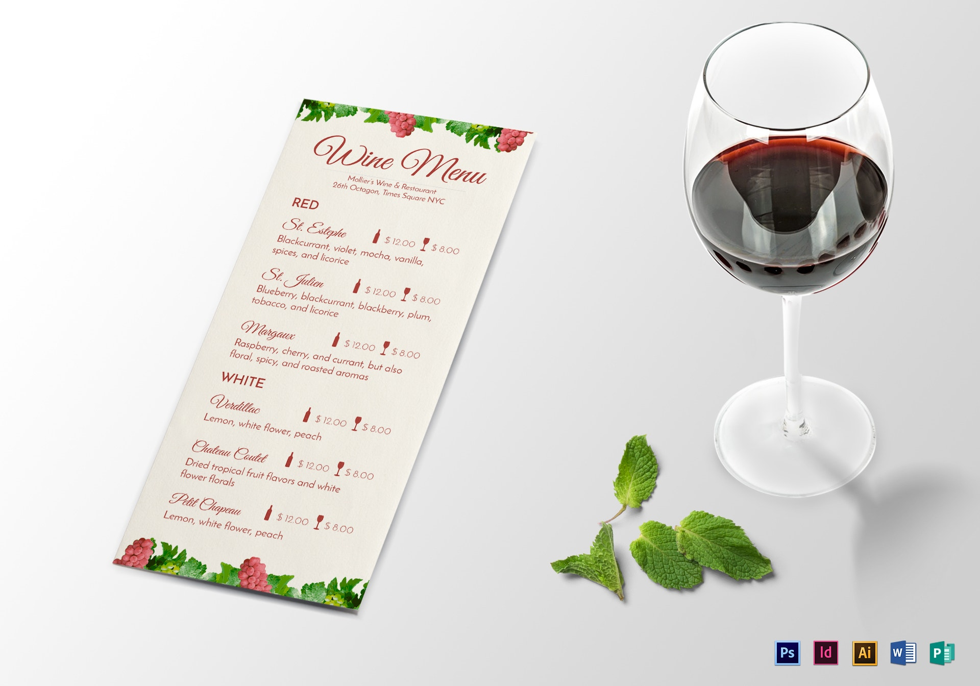 wine menu mock up