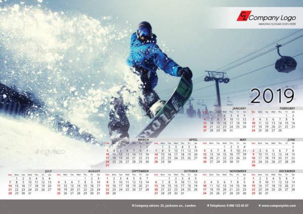 2019 poster calendar template