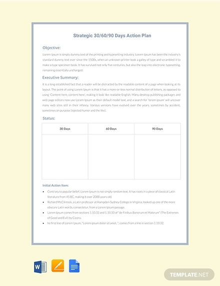 30 60 90 days action plan strategy template 1