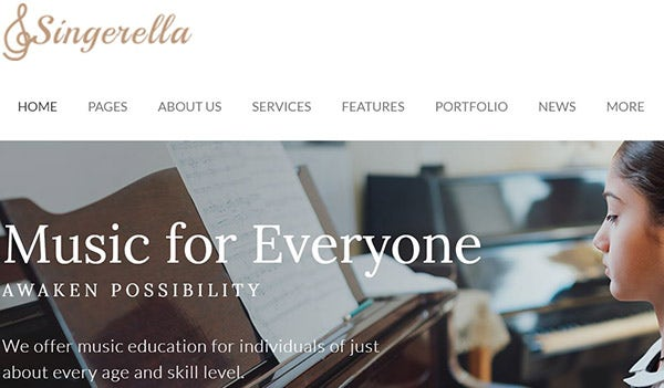 Singerella-A HTML-coded WordPress Theme