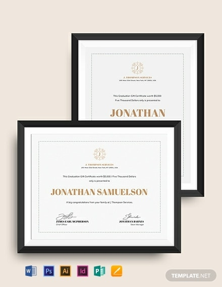 academic graduation gift certificate template