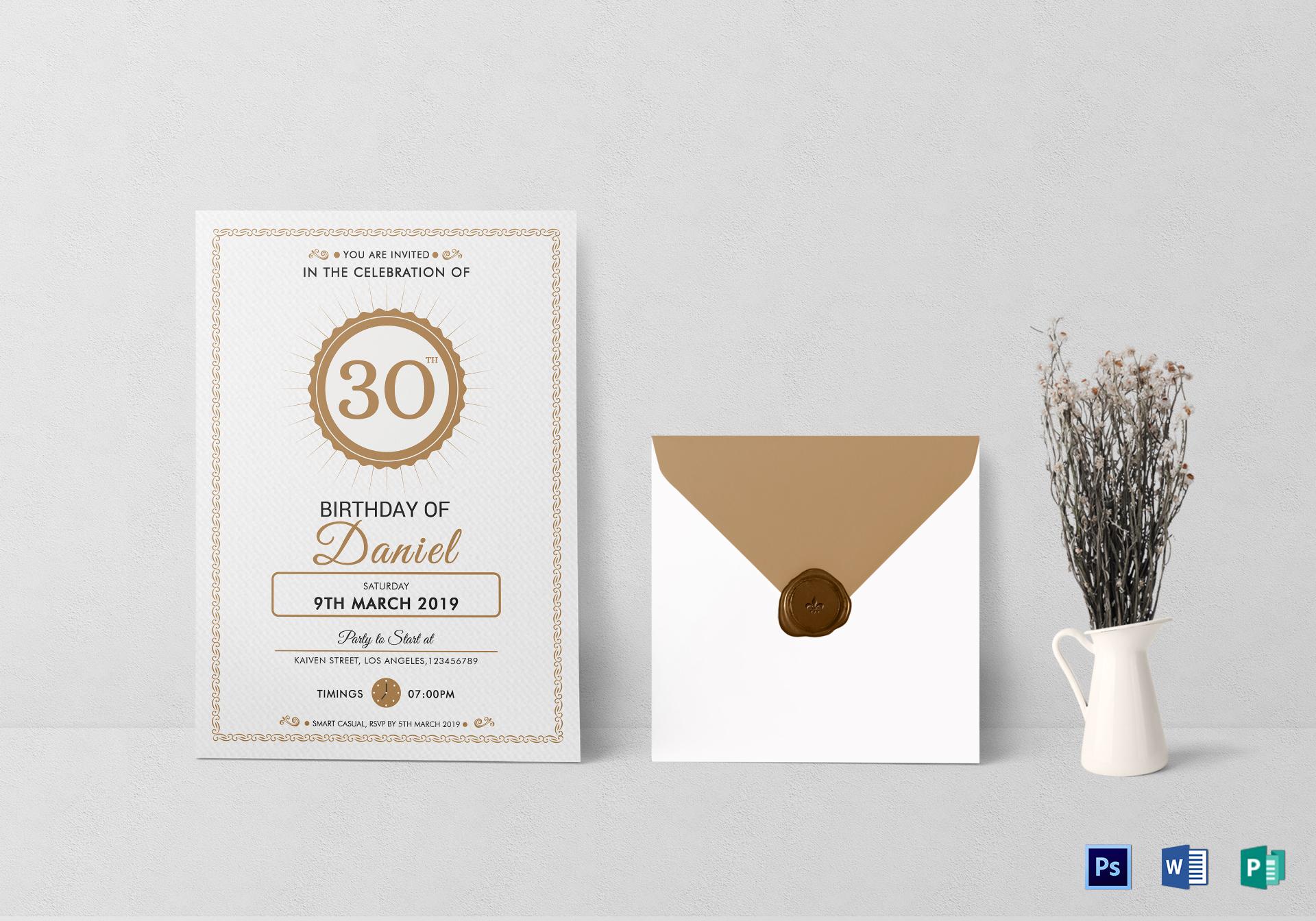 adult birthday invitation card format
