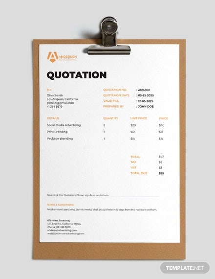 advertising agency quotation template