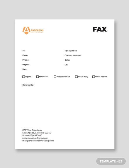advertising paper fax template