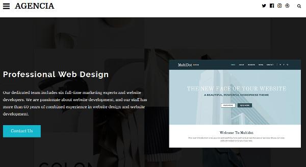 agencia one click demo import wordpress theme
