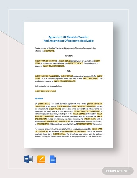 agreement of absolute transfer and assignment of accounts receivable
