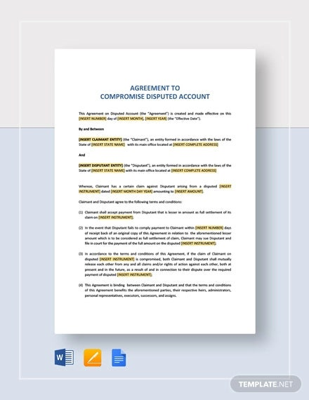 agreement to compromise disputed account template1