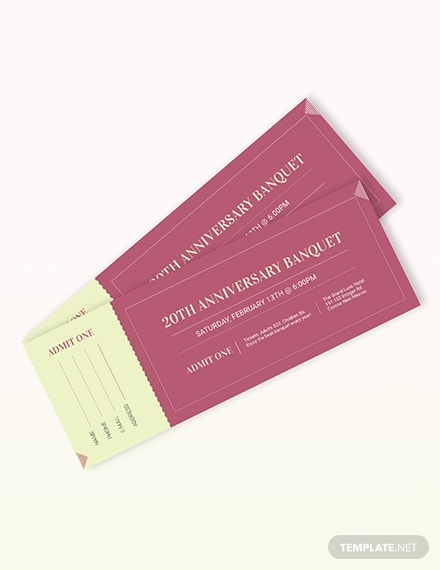 anniversary banquet admission ticket template