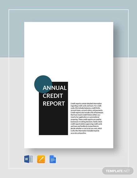 annual credit report form template