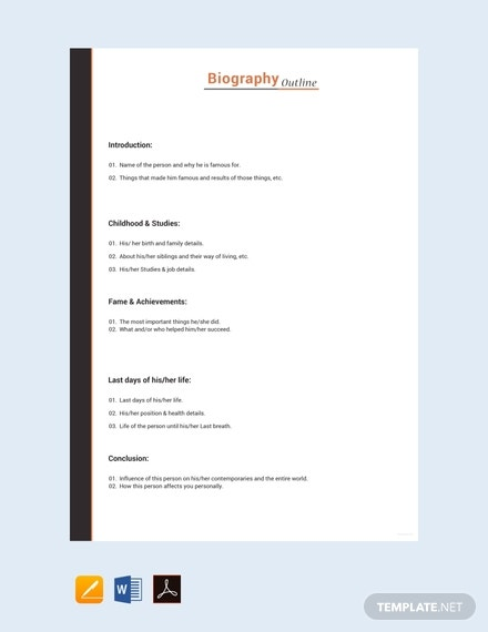 artist biography outline template
