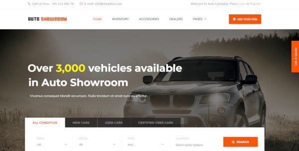 auto showroom user friendly wordpress theme
