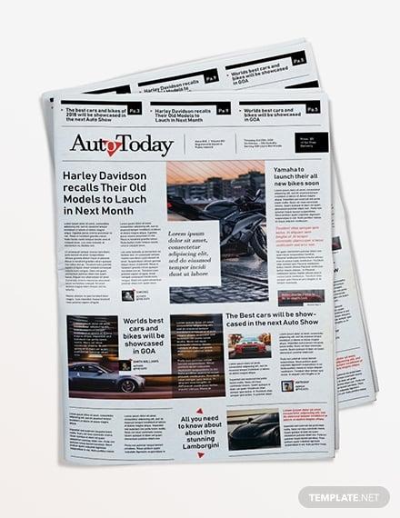 automobile newspaper template