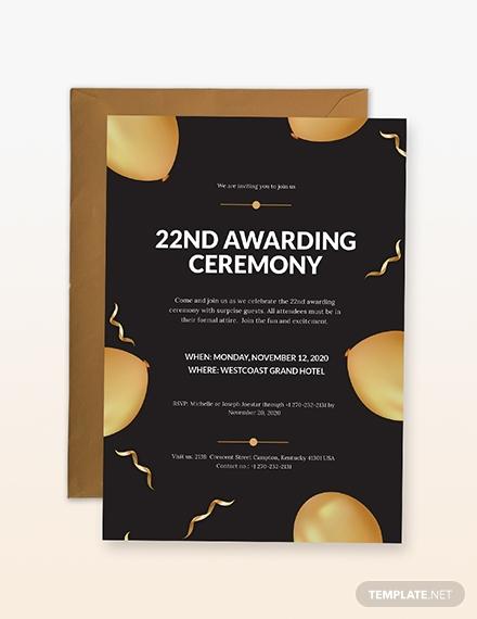 awarding ceremony invitation sample