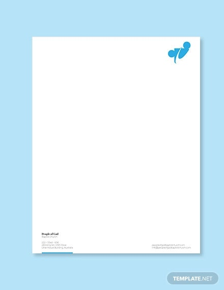 baptist church letterhead template