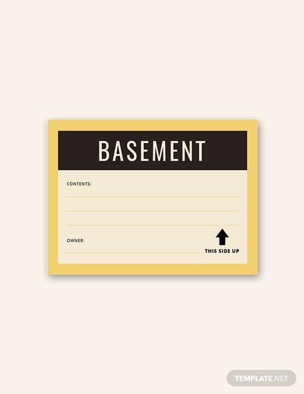 basement storage label sample