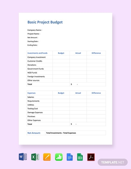 basic project budget template