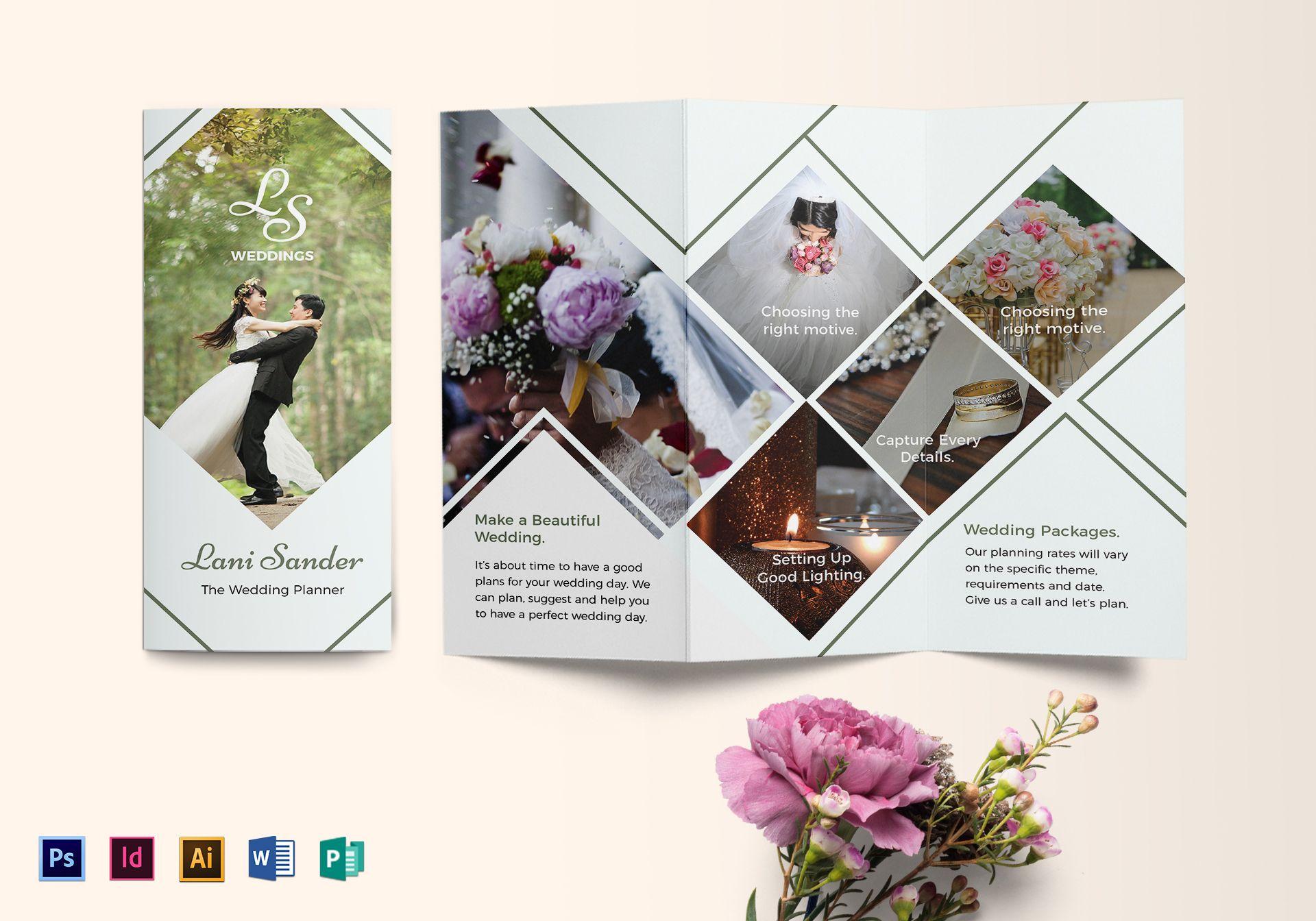 beautiful wedding planner trifold brochure