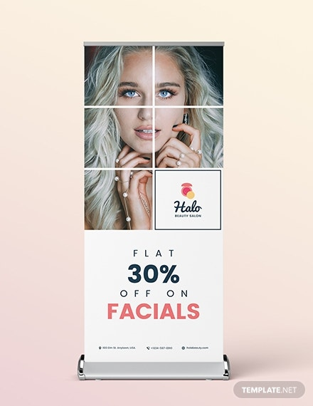 beauty saloon roll up banner template