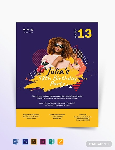 birthday club party flyer template