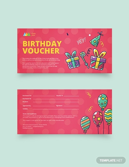 birthday party coupon layout