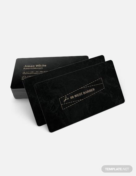 black barber business card layout