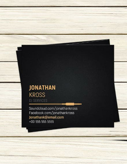 black dj business card template