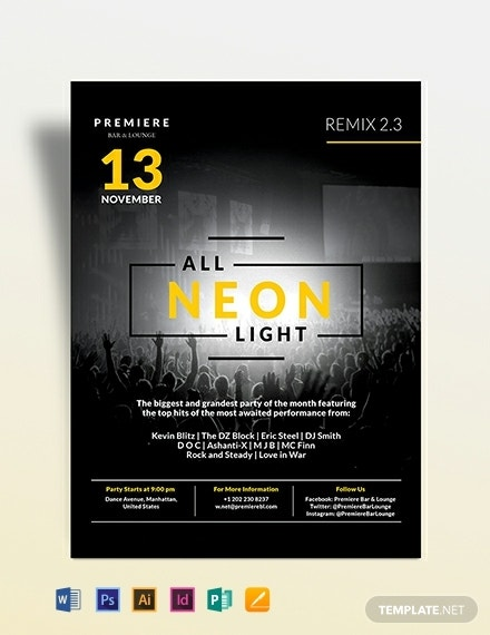 black nightclub party flyer template