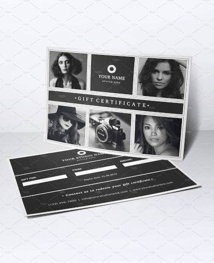 black white photography gift certificate