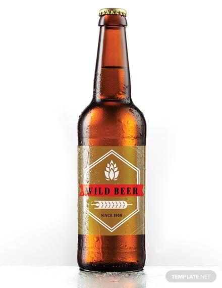 blank beer bottle label layout