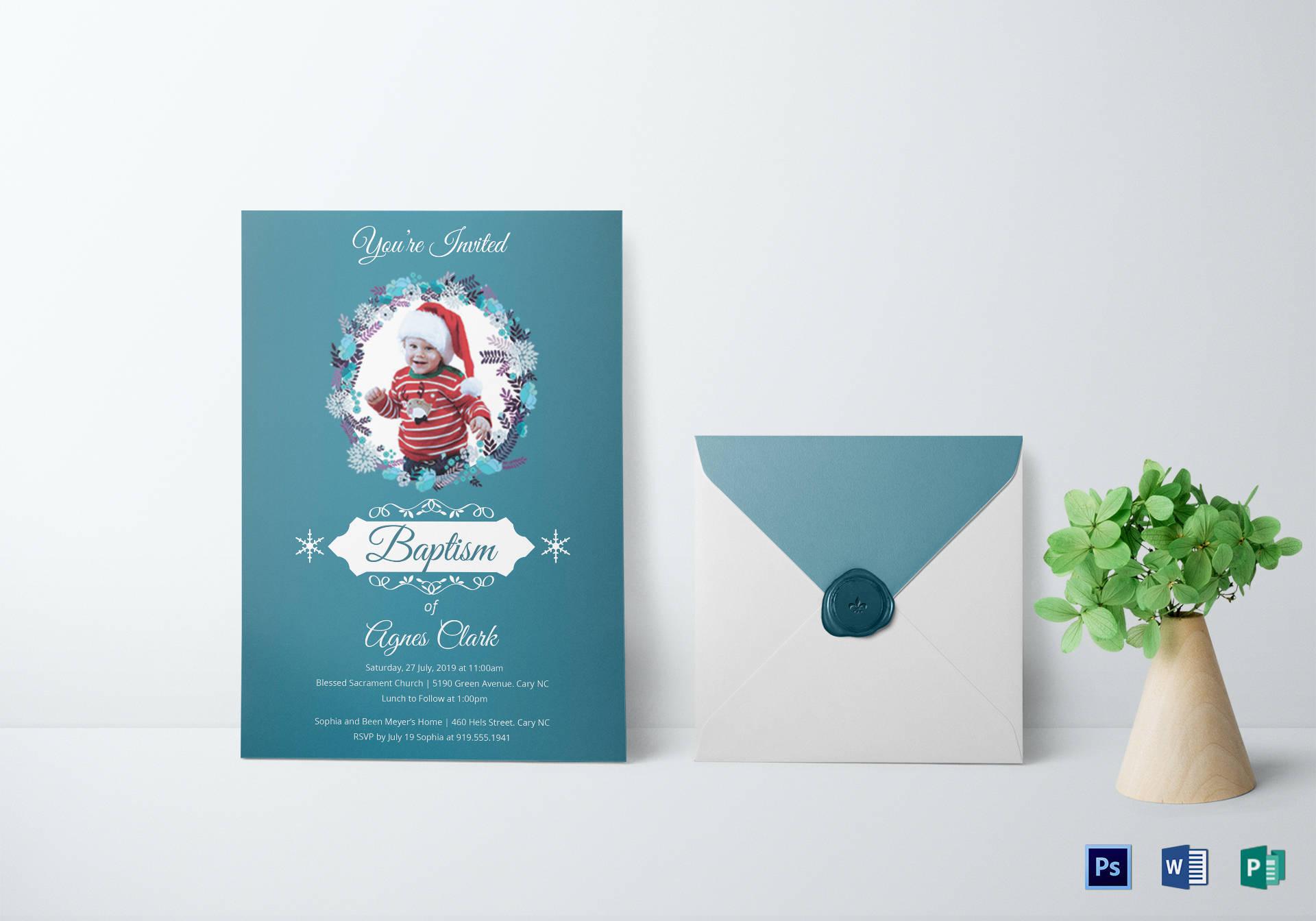 blue christening baptism invitation