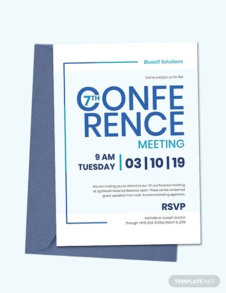 blue conference meeting invitation design