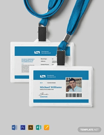 blue student id card template