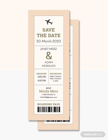 boarding pass wedding invitation format