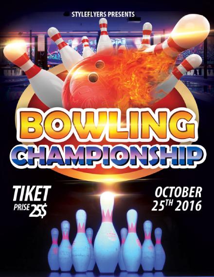 bowling championship tournament flyer design