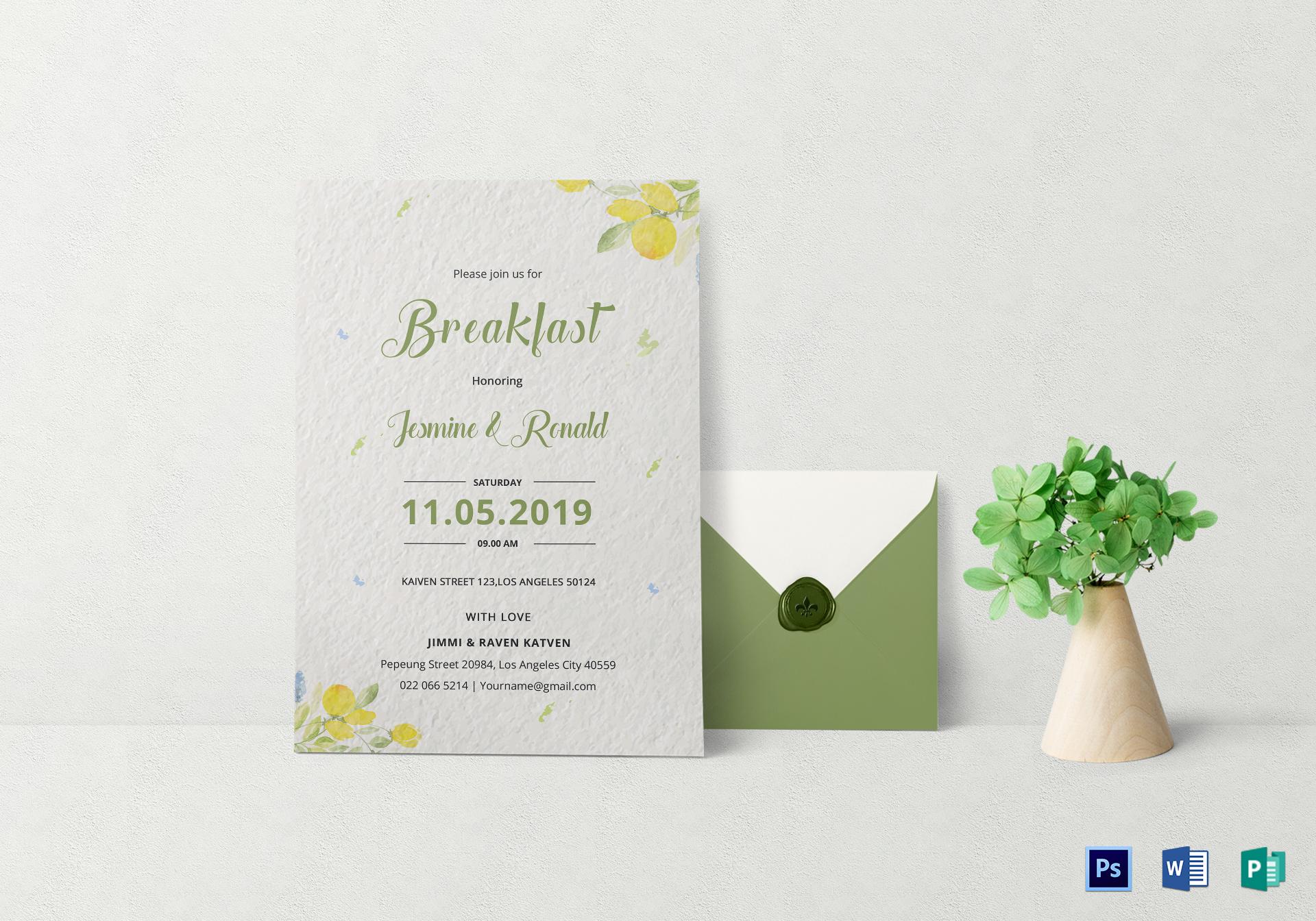 breakfast event invitation card design