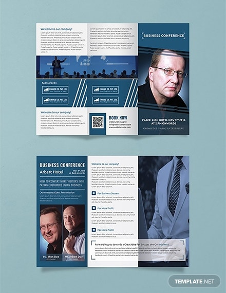 business conference tri fold brochure layout