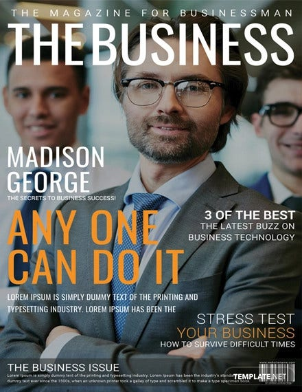 business magazine cover page