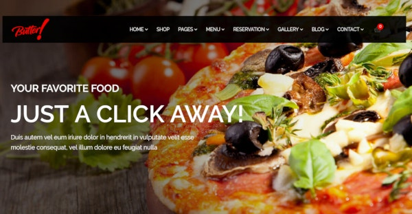 butter pizza restaurant wordpress theme