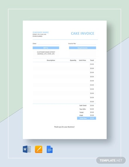 9  bakery invoice template