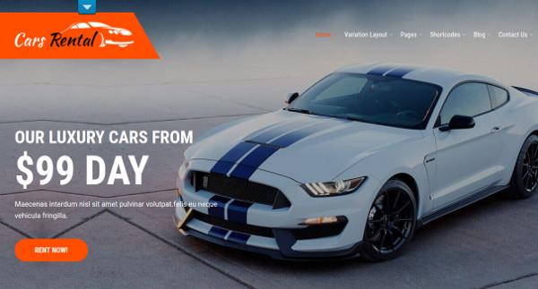 car rental page builder compatible wordpress theme